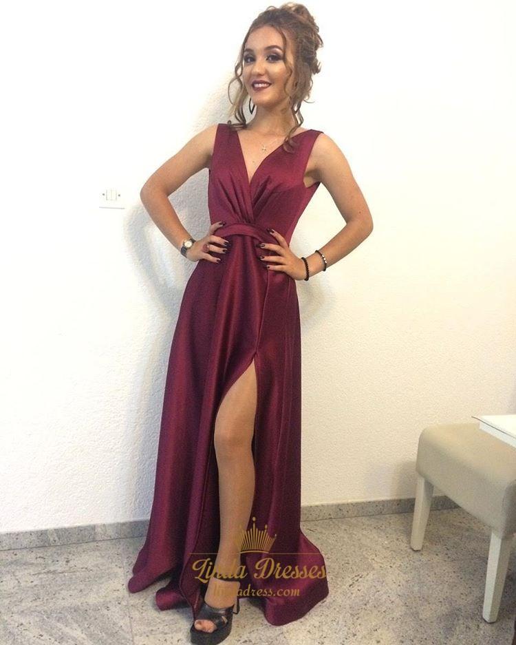 a5f32a2b Burgundy Sleeveless V-Neck A-Line Floor-Length Prom Dress With Slit SKU  -FS2508