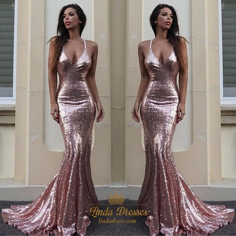 5f6b4c2989 Trumpet Mermaid Pink Sequin Plunging V-Neck Floor-Length Prom Dress SKU  -FS2553