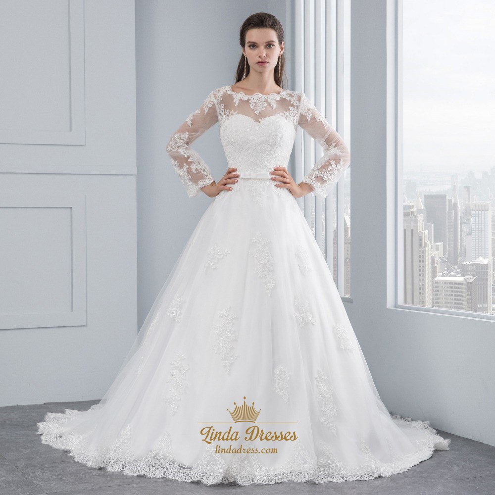 e524a52beef Illusion Sheer Long Sleeve Lace Applique Tulle Ball Gown Wedding Dress SKU  -FS2557