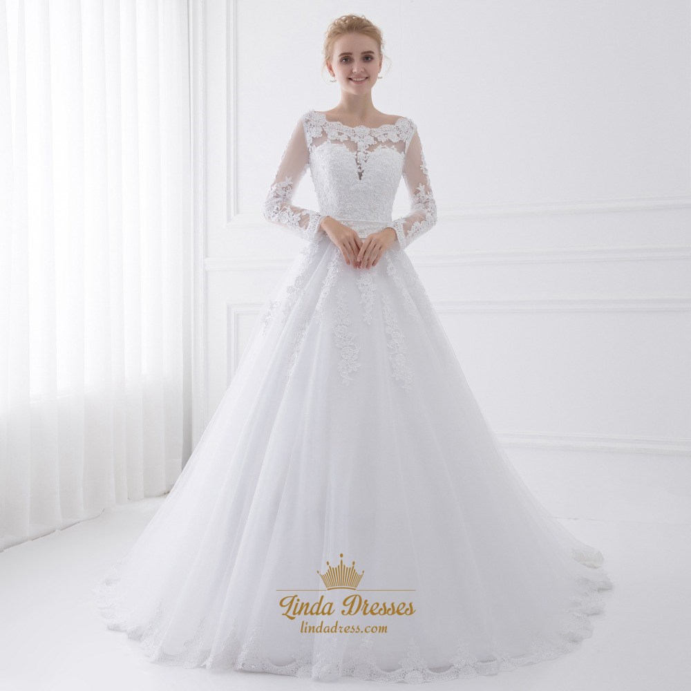 Illusion Long Sleeve A-Line Ball Gown Wedding Dress With Appliques ...