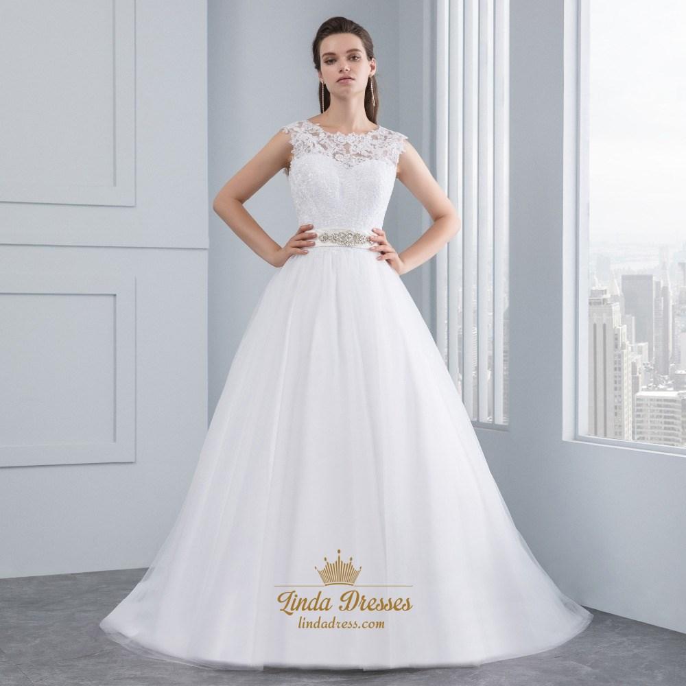 Floor Length Sleeveless Lace Bodice A Line Wedding Dress With Belt