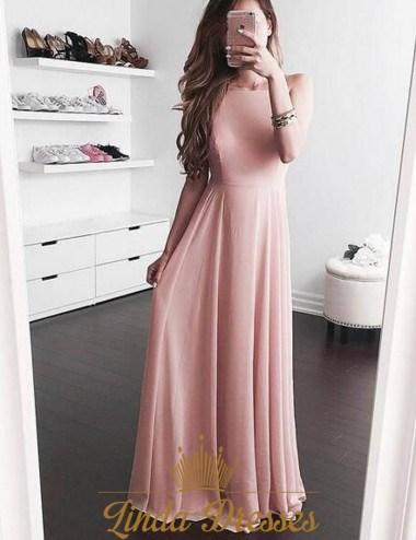 Simple Elegant Blush Pink Sleeveless A-Line Chiffon Long Evening ...