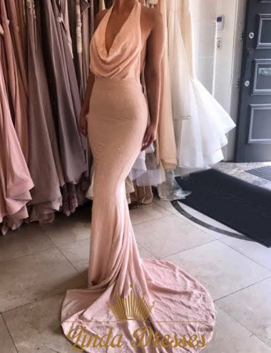 Blush Pink Cowl Neck Halter Floor Length Mermaid Backless Prom Dress