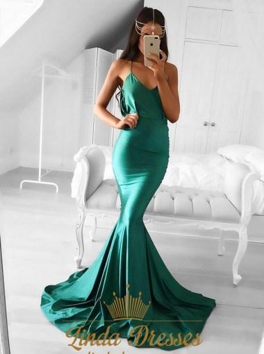 Elegant Emerald Green Spaghetti Strap Mermaid Floor Length Prom Dress