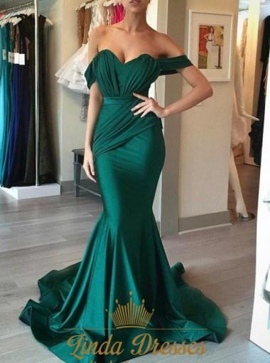 Simple Elegant Emerald Green Off The Shoulder Mermaid Evening Dress ...