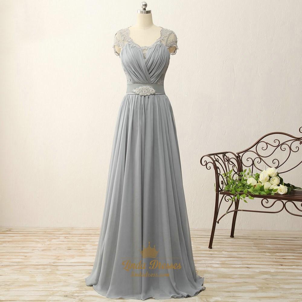 cd0240bea83ab Grey Cap Sleeve A-Line Chiffon Long Prom Dress With Illusion Bodice SKU  -FS2444