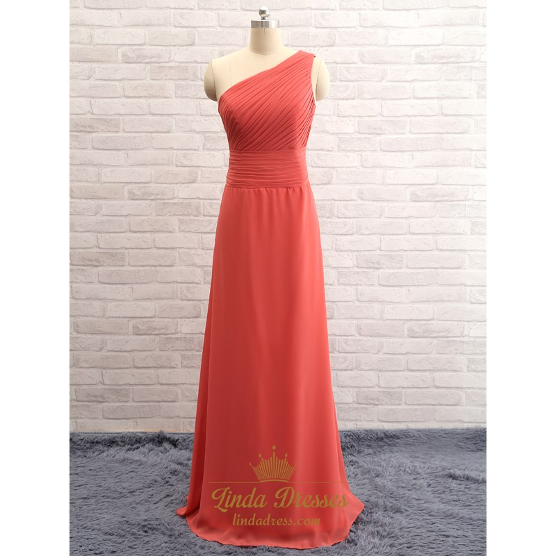 d882ed87e2 One Shoulder Sleeveless Ruched Bodice Long Bridesmaid Gown With Zipper SKU  -FS2455