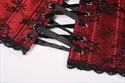 Show details for Red Halter Lace Trim Embellished Court Royal Corset