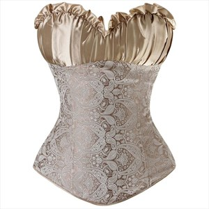 Sweetheart Overbust Cashew Pattern Pleated Court Royal Corset