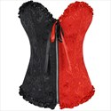 Show details for Color Contrast Embroidery Sweetheart Ruffled Trim Shaper Corset
