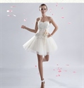 Show details for White Cocktail Dress With Lace Overlay,White Tulle Dress Short