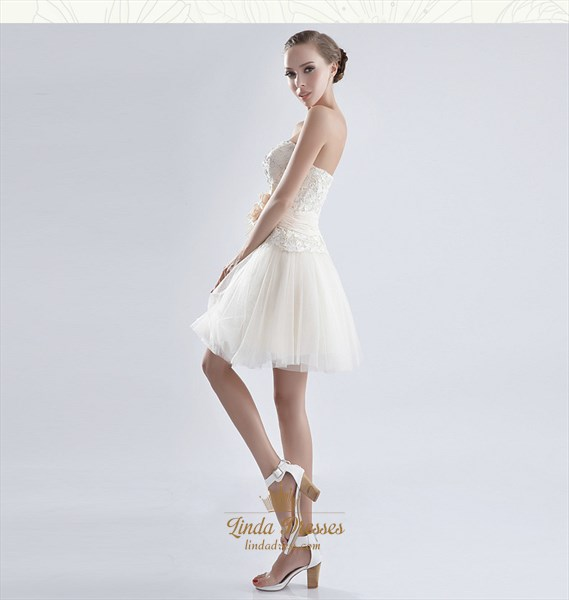 White Cocktail Dress With Lace Overlay,White Tulle Dress Short