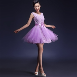 Lilac Cocktail Dress With Lace Overlay  For Prom,Short Lilac Homecoming Dresses