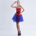 Royal Blue Cocktail Dress With Red Lace  For Women,Red And Blue Dresses Bridesmaid