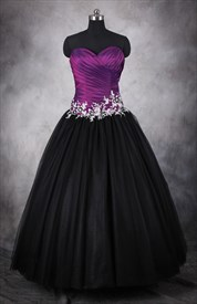 Purple And Black Dresses For Quinceaneras,Dark Purple And Black Ball Gowns Dresses