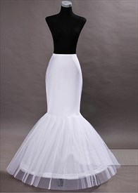 White 3-Hoop 2-Layer Wedding Dress Petticoat Underskirt