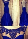 Royal Blue Mermaid Style Prom Dresses With Lace Cap Sleeves,Blue Mermaid Dress With Sleeves