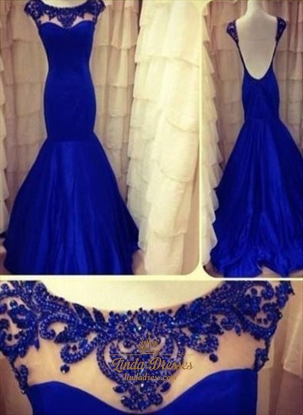 Show details for Royal Blue Mermaid Style Prom Dresses With Lace Cap Sleeves,Blue Mermaid Dress With Sleeves
