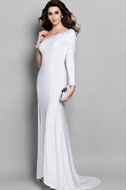 Graceful One Shoulder Beaded Evening Gown With Long  Sleeve  And Side Slits