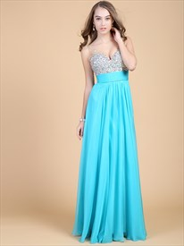 Sequins Tiffany Blue Sweetheart Neckline Prom Dress With Sparkles Spaghetti Straps