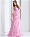 Show details for Cute Long Pink Lace Up Back Prom Dresses With Beaded Top