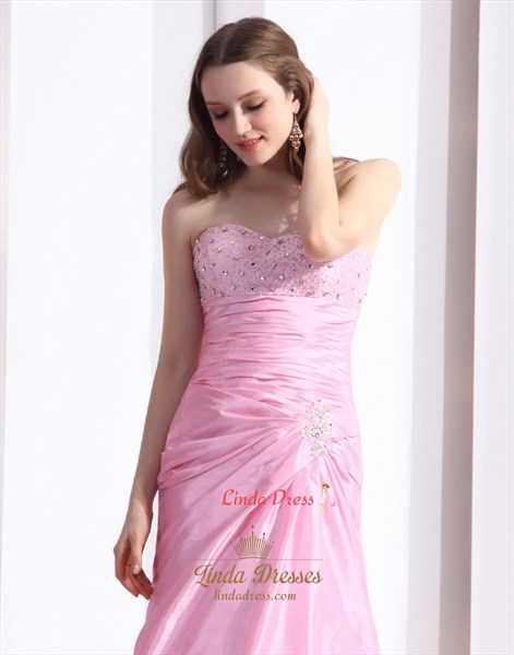 Cute Long Pink Lace Up Back Prom Dresses With Beaded Top