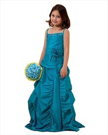 Teal Spaghetti Strap Taffeta Pick-Up Flower Girl Dress With Beading