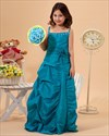Show details for Teal Spaghetti Strap Taffeta Pick-Up Flower Girl Dress With Beading