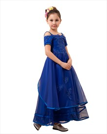 Royal Blue Flower Girl Spaghetti Strap Asymmetrical Tiered Organza Dress
