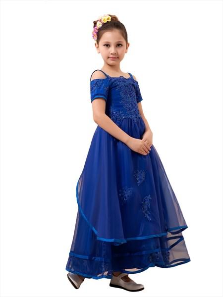 Royal Blue Flower Girl Spaghetti Strap Asymmetrical Tiered Organza Dress