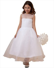 White A-Line Organza Beaded Top Embellished Illusion Flower Girl Dress