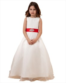 Ivory Flower Girl Dresses With With Ruffled Skirt And Sash At Waist