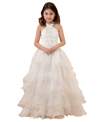 Ivory Halter Neck Organza Ruffled Flower Girl Dresses With Embroidery