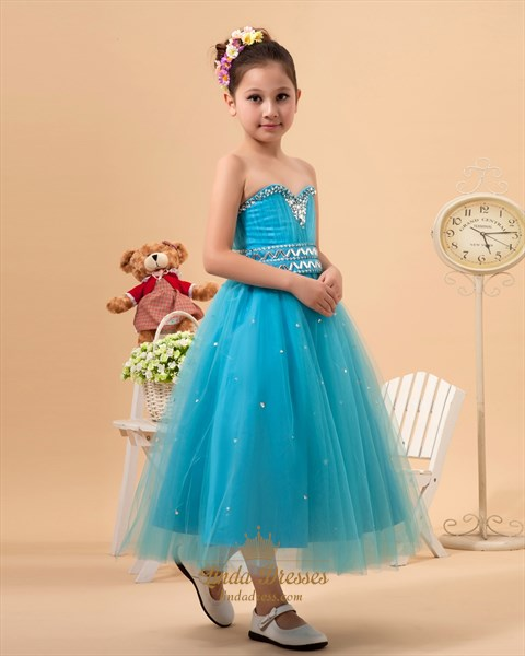 Blue Sweetheart Ankle Length Tulle Flower Girl Dress With Crystal Beading