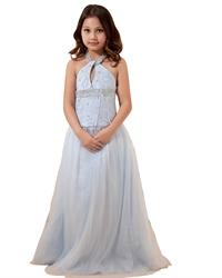 Light Blue Beaded Tulle Floor Length Flower Girl Dresses Halter Style