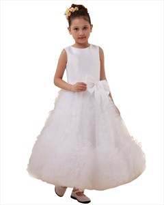 White Ankle Length Satin & Tulle Flower Girl Dress With Elegant Bow