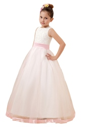White Tulle Beaded Bodice A-Line Scoop Flower Girl Dress With Pink Sash