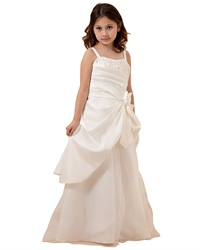 Ivory Spaghetti Strap Taffeta Tulle Flower Girl Dress With Elegant Bow