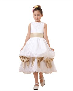White Lace Applique Taffeta Bubble Flower Girl Dress With Champagne Sash