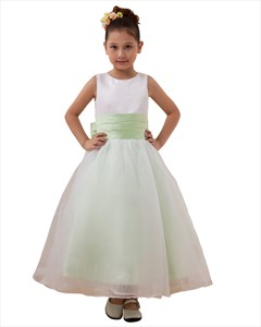 White And Lime Green Concise A-Line Scoop Bowknot Flower Girl Dress