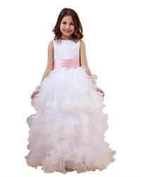 White Organza Ruffle Floor Length Flower Girl Dress With Pink Sash