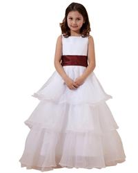 White Organza Tiered Skirt Flower Girl Dresses With Burgundy Sash