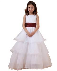 White Organza Tiered Skirt Flower Girl Dresses With Burgundy Sash