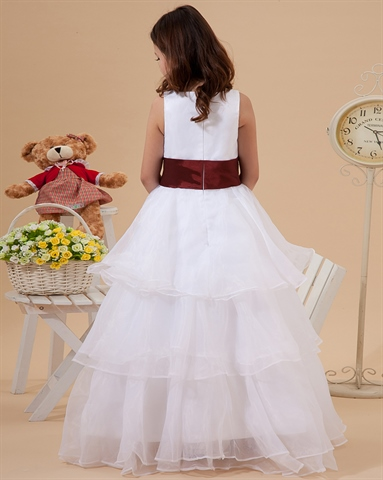 White Flower Girl Dresses With Burgundy Sash 95