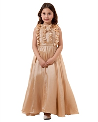 Champagne A Line Floor Length Taffeta Flower Girl Dress With Ruffle Neck