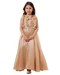 Champagne A Line Floor Length Taffeta Flower Girl Dress With Ruffle Neck