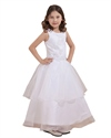 Show details for White Organza Applique Floor Length Flower Girl Dress Double Layered