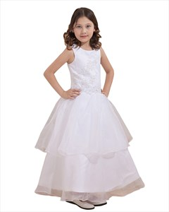 White Organza Applique Floor Length Flower Girl Dress Double Layered