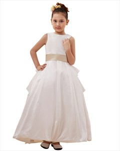 Vintage White Taffeta Layered Flower Girl Dress With Champagne Sash