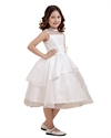 Show details for White Layered Organza Tea Length Flower Girl Dresses With Flower Detail